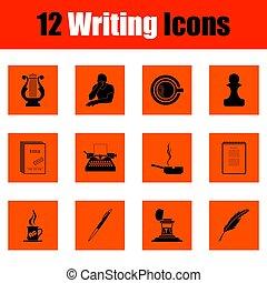 schrijvende , set, iconen