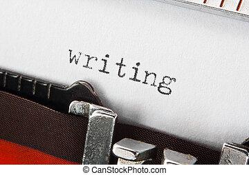 schrijvende , tekst, op, retro, typemachine