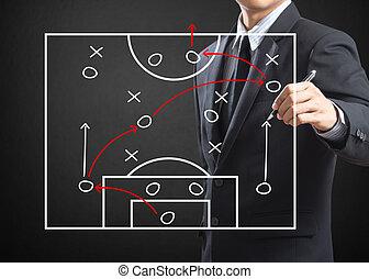 schrijvende , trainer, voetbal, strategie