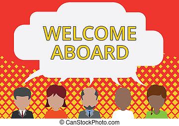 schrijvende , uitdrukking, tekst, personen, wiens, begroetenen, woord, delen, leeg, wedloop, demonstreren, concept, zakenlui, welkom, bubble., aboard., vijf, gewenste, kwam aan, het spreken., anders, toespraak