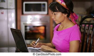 schrijvende , vrouw, recept, internet