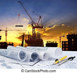 schrijvende , werkende , werktuig, model, tafel, equipme, ingenieur, plan, thuis