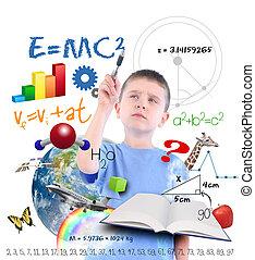 schrijvende , wetenschap, jongen, school, opleiding