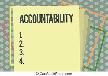 schrijvende , wezen, handel concept, tekst, accountability...