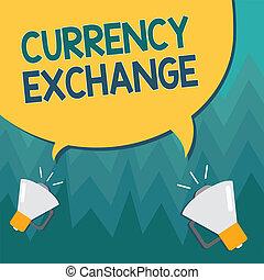 schrijvende , zakelijk, ex, proces, showcasing, een, conceptueel, valuta, het tonen, een ander, exchange., hand, het veranderen, foto