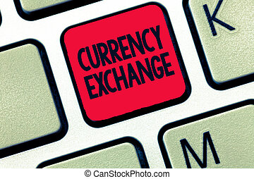 schrijvende , zakelijk, ex, proces, tekst, een, conceptueel, valuta, het tonen, een ander, exchange., hand, het veranderen, foto