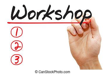 schrijvende , zakelijk, lijst, workshop, hand, concept