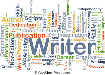 schrijver, achtergrond, concept