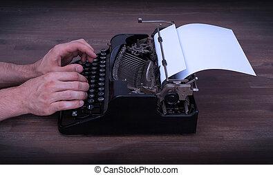 schrijver, of, reporter, achter, de, typemachine