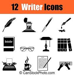 schrijver, set, iconen
