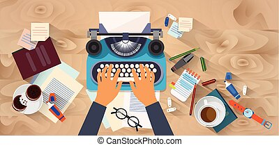 schrijver, typewrite, handen, blog, textuur, tekst, hoek, ...