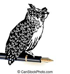 schrijver, uil, klassiek