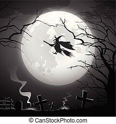 schrikaanjagend, concept, rijden, halloween heks, feestje, ontwerp