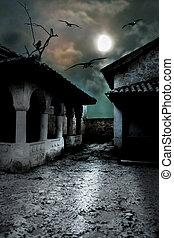 schrikaanjagend, donker, binnenplaats, in, de, onheilspellend, maanlicht, nacht in, een, koude, halloween