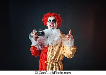 schrikaanjagend, gek, afbeelding, eyes, clown, bloedig, maakt