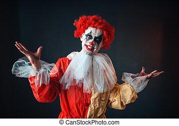 schrikaanjagend, gek, eyes, clown, bloedig, verticaal