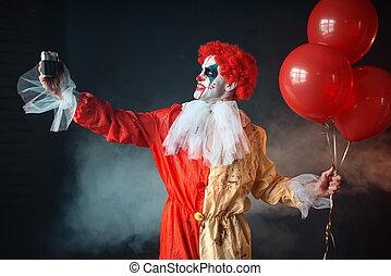 schrikaanjagend, gek, selfie, eyes, clown, bloedig, maakt