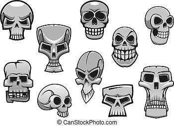 schrikaanjagend, halloween, schedels, spotprent, menselijk