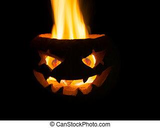 schrikaanjagend, hoofd, gemaakt, van, pumpkin., een, echte, fire.