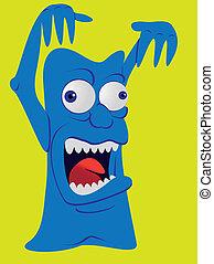 schrikaanjagend, monster, -, illustratie, gegil, schepsel