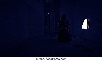 schrikaanjagend, verschrikking, vrouw, scène