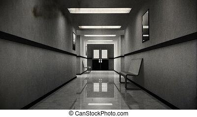 schrikaanjagend, ziekenhuis, 8, gang, ouderwetse