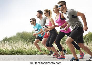 schritte, marathon, zuerst