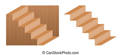 Schroeder Stairs Optical Illusion Wooden Texture - Optical...