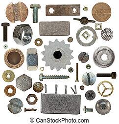 schroef, oud, toestellen, verzameling, hoofden