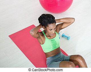 schrupać, sala gimnastyczna, kobieta, afrykanin, seria