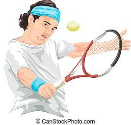 schuß., tennis, schlagen, spieler, vektor, rückhand