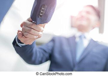 schudden, mensen, succes, handel hands