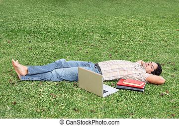 schueler, entspannend, auf, campus