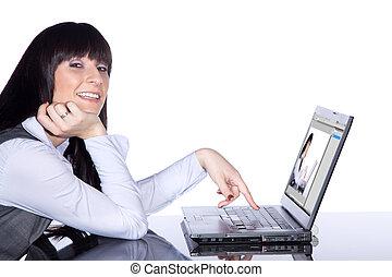 schueler, mit, laptop