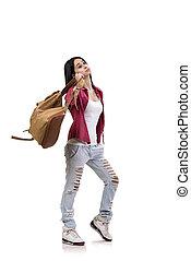 schueler, rucksack, weißes, freigestellt, weibliche