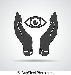 schuetzen, illustra, -, zwei, vektor, nehmen, hände, sehen sorgfalt, ikone