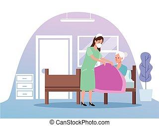 schuetzen, krankenschwester, ältere person, charaktere