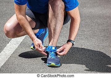 schuhe, bekommen, läufer, rennender , bereit, schwierig,...
