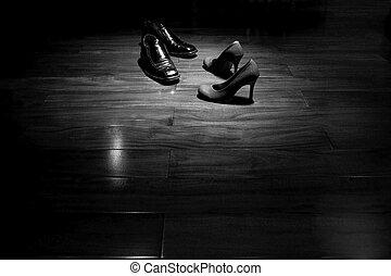 schuhe, boden, tanz, paar, schwarz, weißes