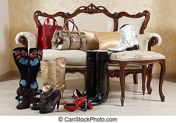 schuhe, stiefeln, und, handtaschen