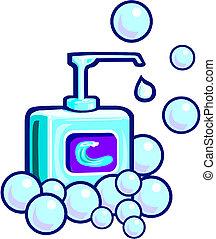 schuim, of, vloeistof, zeep