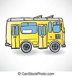 schulbus, gelber , vektor, bus., abbildung, straße
