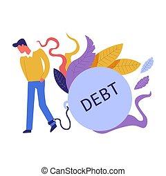 schuld, begriff, abbildung, themed, ausgaben, finanziell