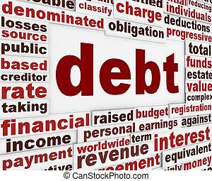 schuld, financieel, poster
