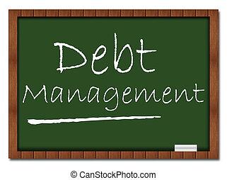 schuld, management, -, klaslokaal, plank