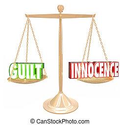 schuld, vs, unschuld, 3d, wörter, gold, skala, urteil,...