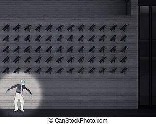 schuldige, gevangengenemenene, door, de, cameras., 3d, vertolking