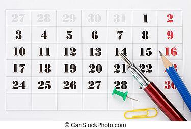 schule, accessoirs, auf, kalender