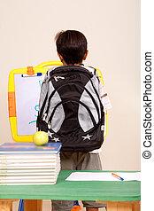 schule, ansicht, klug, rückseite, kind