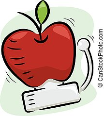 schule, apfel, abbildung, glocke